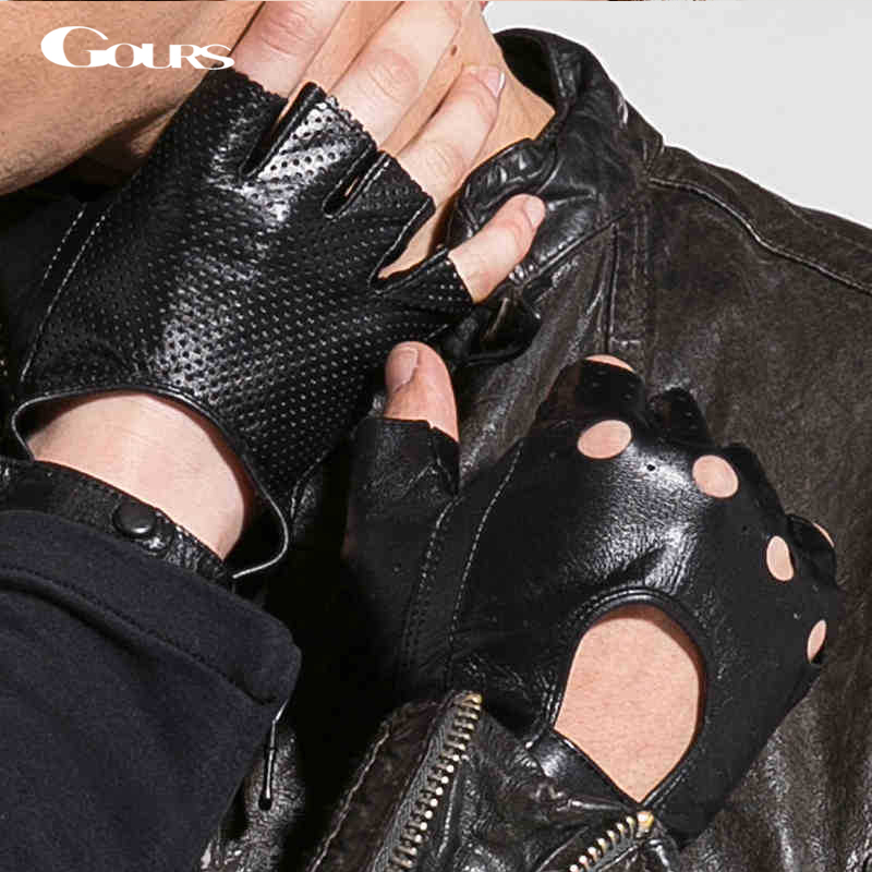 Gours New Brand Genuine Leather Gloves For Women And Men Fingerless Sport Motorcycle Fitness Driving Goatskin Mittens GSL037