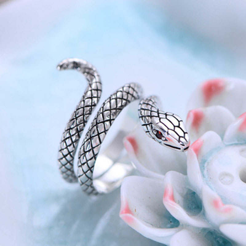 Thai argent animaux serpent anneaux pour femmes hommes 925 en argent Sterling Anillos mode bijoux accessoires offre spéciale - 2