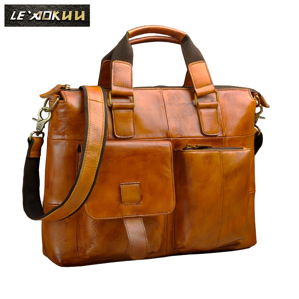 Men Quality Leather Antique Designer Business Briefcase Casual 14