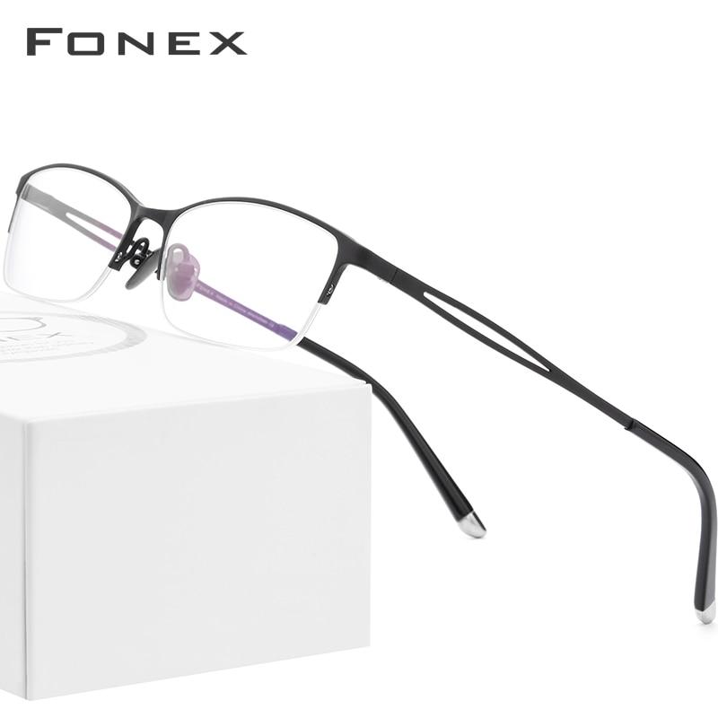 Pure Titanium Glasses Frame Men Square Eyewear 2019 Women Semi Rimless Half Optical Prescription Eyeglasses Frames Gafas 8504