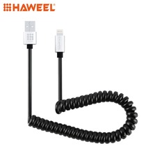 HAWEEL 2A 8 Pin to USB 2.0 Retractable Coiled Data Sync Charging Cable  For iPhone & iPad