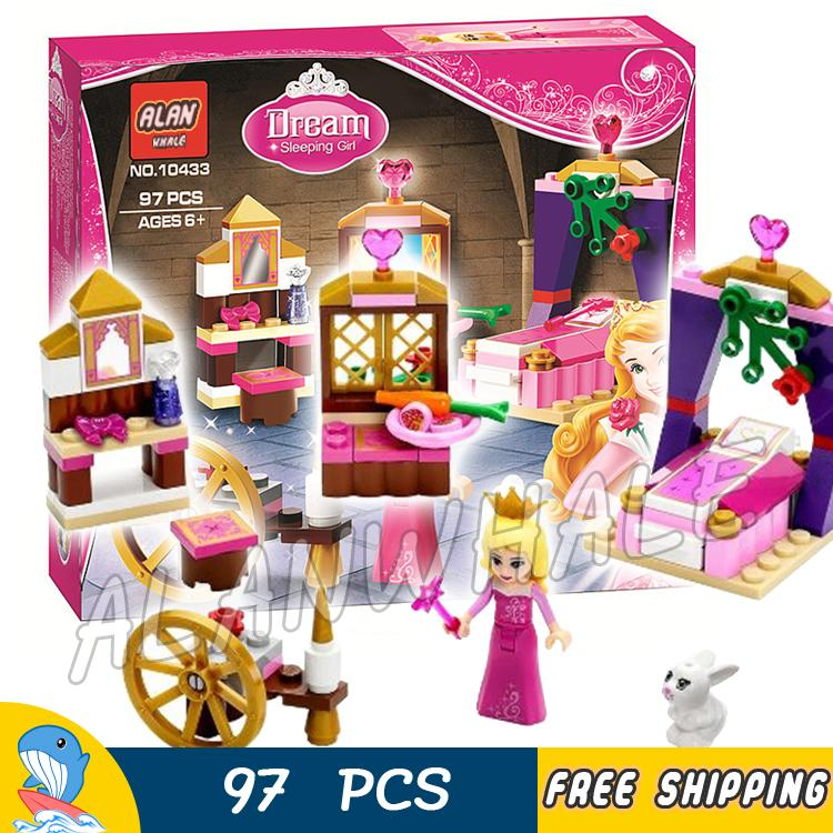97pcs New Cute Princess Series Sleeping Beauty's Royal Bedroom 10433 Building Brick Blocks Girls Friends Compatible With Lego new lp2k series contactor lp2k06015 lp2k06015md lp2 k06015md 220v dc