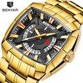BENYAR Top Marke Luxus Goldene männer Quarz Uhren Sport Uhr Männer Wasserdichte Männliche Armbanduhr Reloj Hombre Relogio Masculino-in Quarz-Uhren aus Uhren bei