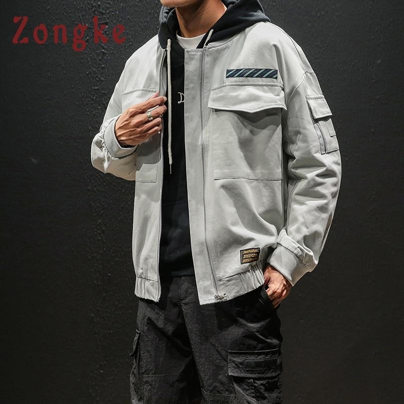 Zongke Bomber Jacket Men Clothes Japanese Streetwear Hip Hop Coat Men Jacket 2019 Spring Hiphop Mens Jackets And Coats 5XL