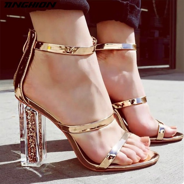 2b687bbf8c4 TINGHON Women Open Toe Strappy Ankle Strap Gold 12cm Heel Sandals Crystal  Transparent Clear Block Thick High Heel Sequined Shoes
