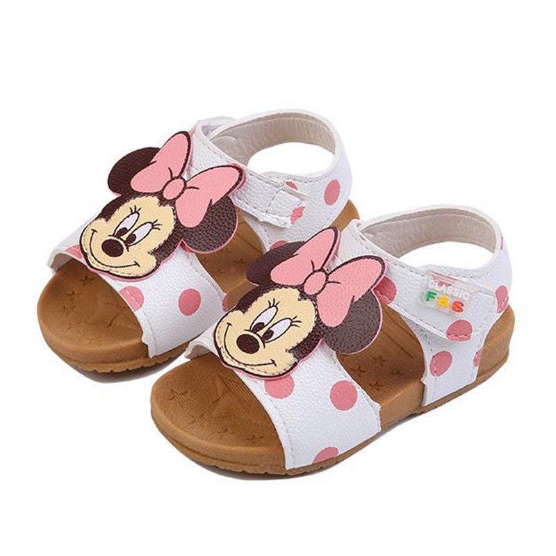 New Children PU Leather Baby Girls Sandals Summer 1-2-3 Years Old Soft Sole Kids Toddlers Cute Cartoon Shoes