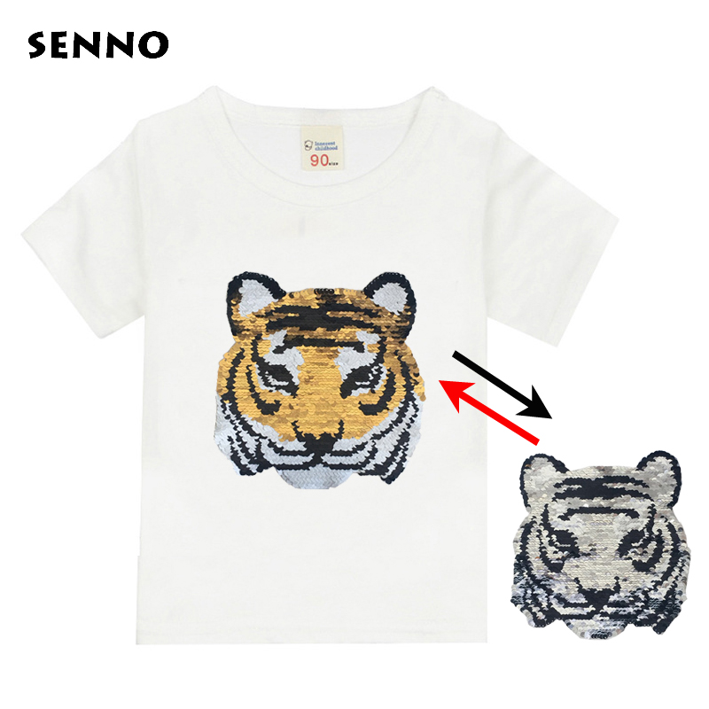 952dbf8b0 Custom Color Changing T Shirts For Girls Sequins T Shirt Boys Cartoon Owl  Heart Dog Cat Hero Kids Tshirt Summer Cotton Tee Tops -in T-Shirts from  Mother ...
