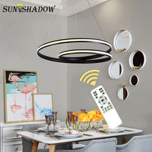 White&Black Led Pendant Light AC110V 220V New Modern Lamps For Living room Bedroom Dining Hanging Lustre
