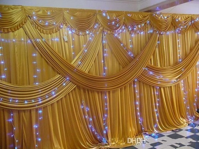 Excellent Luxury 3x6m Ice Silk gold Wedding Backdrops curtains with Wedding  DD22