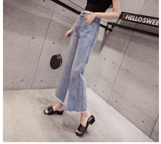 2018 Fashion Retro Style Wide Leg Jeans Women Pants High Waist Washed Loose Cotton Jeans Pants Denim Ankle-Length Pants A632 3