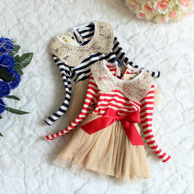 2016 Otoño otoño Invierno Niños Niñas Vestido de Lentejuelas de Cuello de Encaje Niña Vestido de Navidad Para Niños Vestidos de Niña de Vestido Del Tutú de La Raya