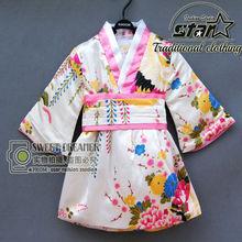 Japanese Kimono for Girls Baby Floral Kimono Romper Dress Infant Toddler Children Flowerbow Milksilk Clothes Halloween Gift