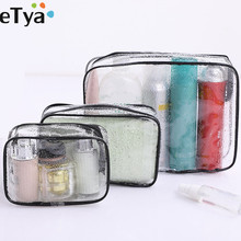 eTya 1PCS Transparent Cosmetic Bag Travel Women Makeup Bag Zipper Make Up Bath Toiletry Wash beauty Kit Organizer Storage Pouch 3pcs set women transparent cosmetic bag clear zipper travel make up case makeup beauty organizer storage pouch toiletry wash bag