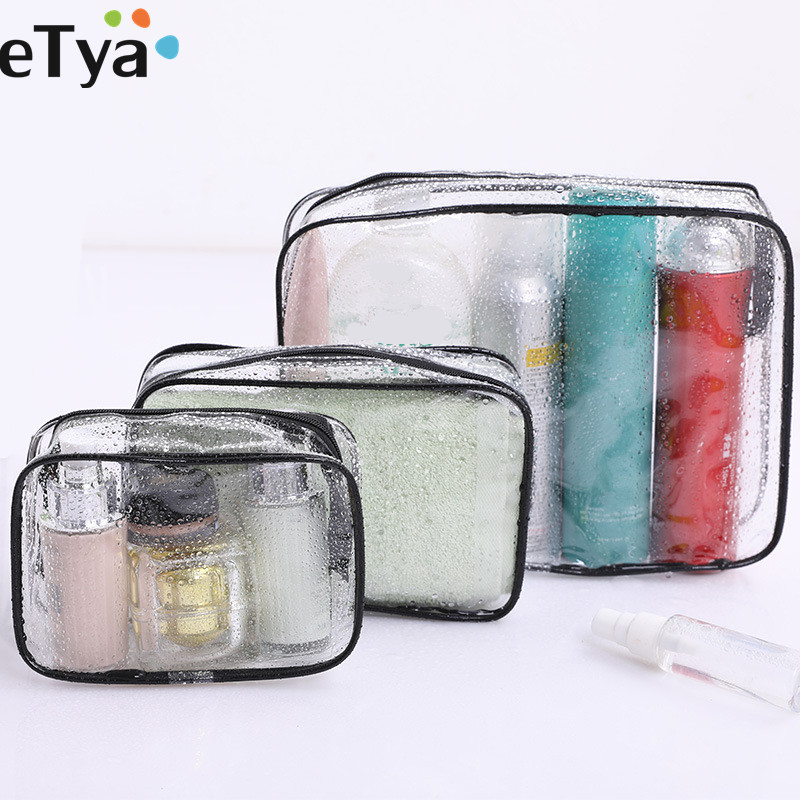 ETya 1PCS Transparent Cosmetic Bag Women Travel Makeup Bag PVC Make Up Bath Toiletry Wash BeautyOrganizer Set Storage Pouch Case