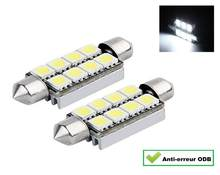 2 Navettes LED C5W festoon 41 mm 42 mm 8 smd BLANC WHITE CANBUS ANTI ERREUR ODB(China)