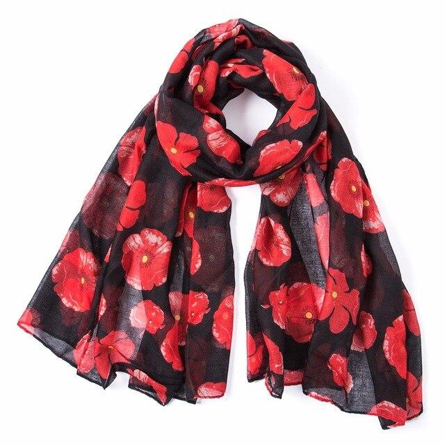 2018 Winter Fashion poppy Flower Print Scarf Women Wrap Shawl Women Accessories Poppies Scarves Long Scarf Free Shipping