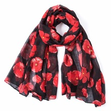 2016 Winter Fashion poppy Flower Print Scarf Women Wrap Shawl Women Accessories Poppies Scarves Long Scarf, Free Shipping casual poppy print voile scarf