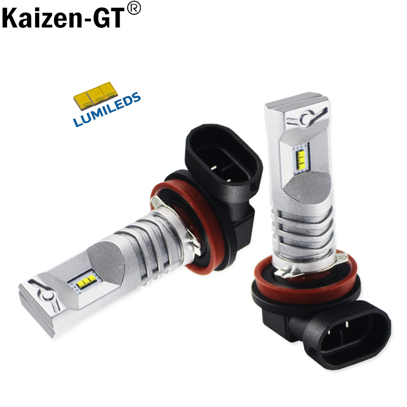 2pcs 6000K White Powered By Luxeon LED H11 H8 H9 Bulb Auto Brake Fog Light Lamps Car Styling and Driving Lamps novsight h11 h8 h9 auto car led headlights 60w 10000lm driving fog light 6000k white fog lamps bulbs