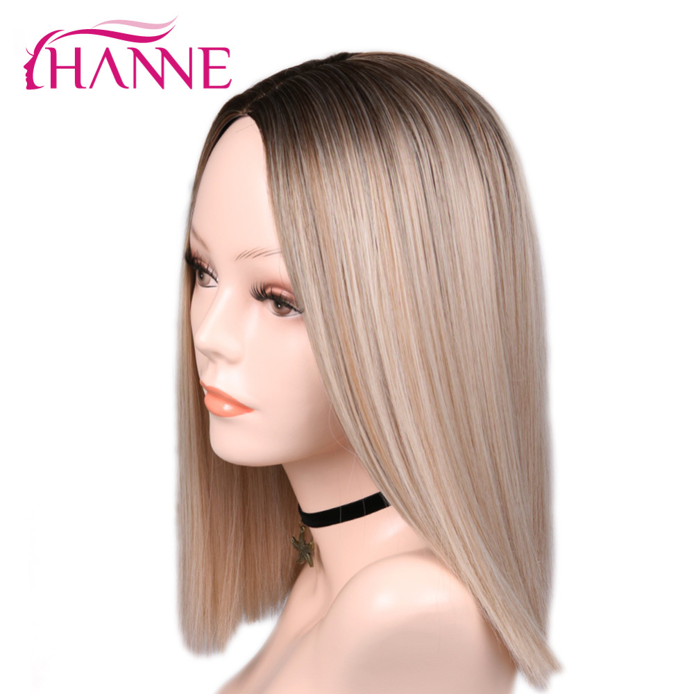 HANNE Synthetic Wigs Short Black White Straight African American Ombre Blonde/pink Women