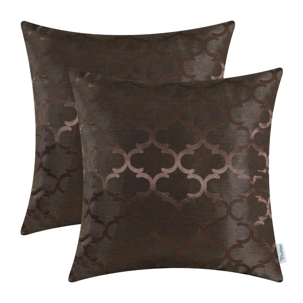2PCS CaliTime Cushion Covers Pillows Shell Quatrefoil Accent Geometric 18 X 18(45cm X 45cm) Coffee