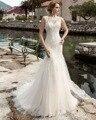 Dreagel Nueva Llegada Encanto O-cuello Lace Up Vestido de Novia Sirena 2017 Gorgeous Appliques el Vestido Nupcial de Robe De Mariage vestido de Más Tamaño