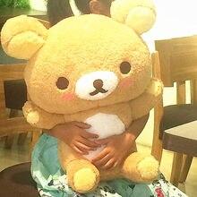 55 gigant miś rilakkuma pluszowe zabawki rozmiar życia Relax niedźwiedź poduszki w kształcie lalki miękkie wypchane zwierzęta Valentine & #39s dzień dziewczyny Gif