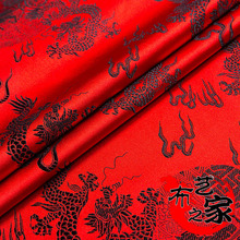 Chinese Dragon Embroidered Faux Silk 0.75m x 1m