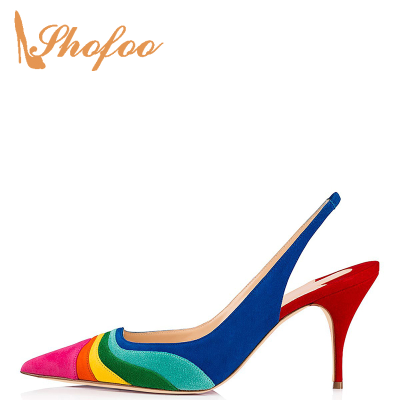Pumps Evening-Shoes Open-Back Pointed-Toe Formal High-Heels Kitten Multicolor Small-Size