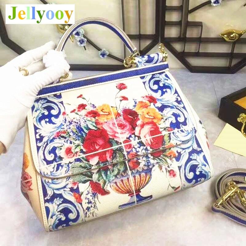 Красочные цветы печати Сумки, натуральная кожа Для женщин сумки, уникальный Дизайн флип мешок, доктор сумка, леди Белая Сумка