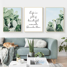 Nordic Green Cactus Poster Life Quotes Posters And Prints Plant Painting Canvas Print Wall Art Picture For Living Room Unframed цены