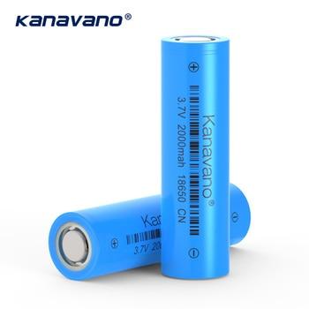 Kanavano 18650 lithium ion rechargeable battery 3.7V 2000mAh capacity electric toy alarm clock flashlight battery gift