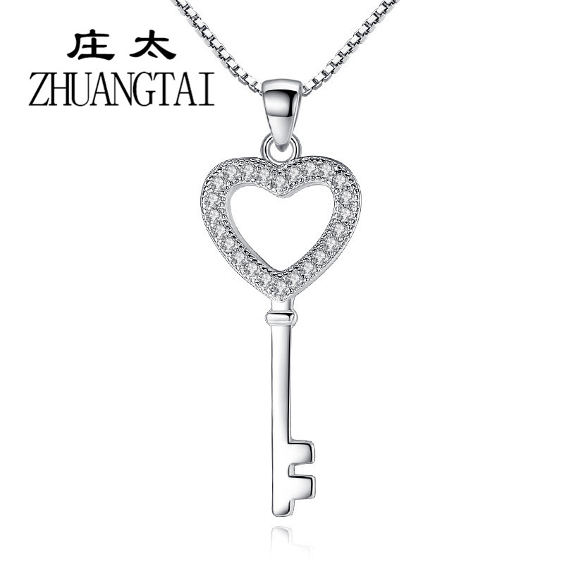 ZHUANGTAI Classic Heart Necklaces Pendants Clear Cubic Zirconia Silver Color Chain Women Key Shape Chokers Jewelry Collares 2018
