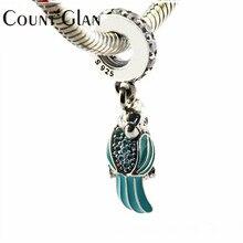 925 стерлингового серебра–ювелирной эмалью Тропический попугай морской конек Дельфин CZ животных кулон Бусины Fit Европейский бренд браслет