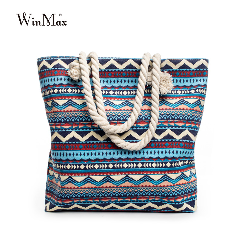 Winmax New Summer Women Canvas gaya bohemian strip Shoulder Beach Bag Perempuan Casual Tote Shopping Bag Besar Messenger Messenger bunga