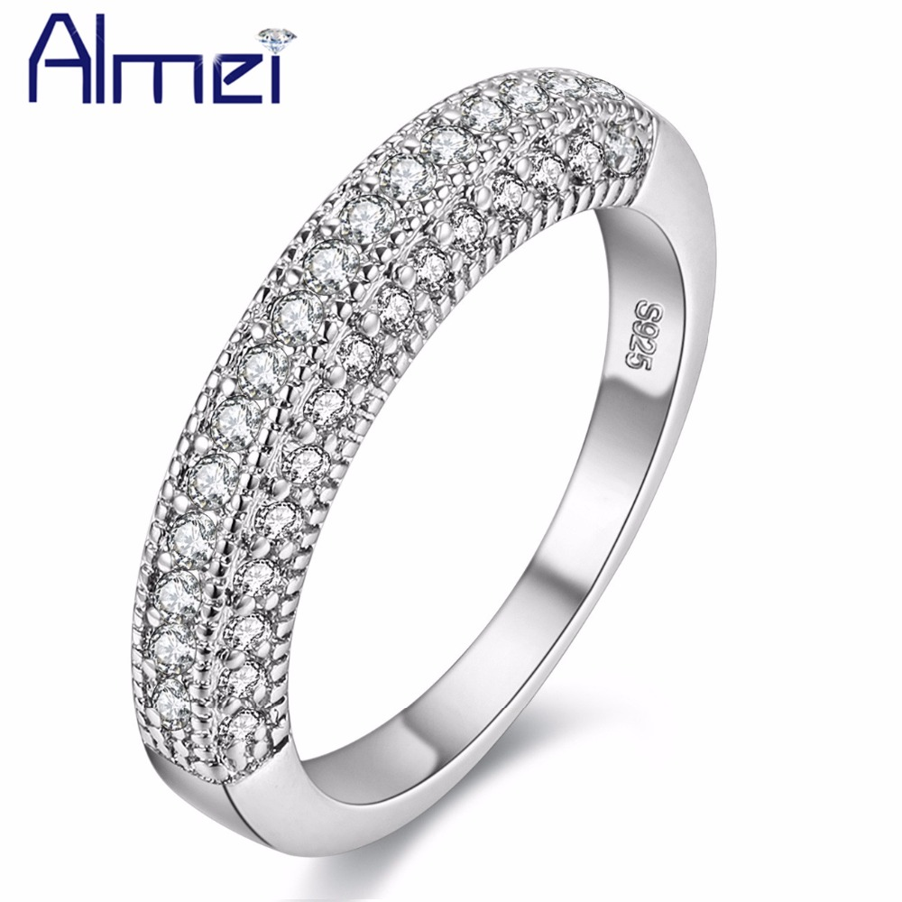 49% off Ring Men CZ Zircon Silver Rings for Women White Crytal Vintage Anel Wedding Anillos 2016 Fashion Bague Femme Aneis Y100