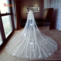 Bridal Veil White with Face Veil White Rose Petals Charming Long Wedding Veil for Bride accessoires mariage V42