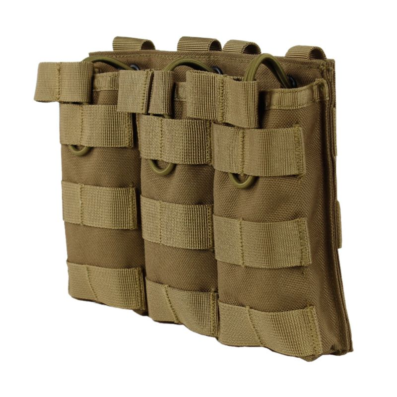 Tactical MOLLE Triple Open-Top Magazine Pouch FAST AK AR M4 FAMAS Mag Military Pouch for Paintball Airsoft image