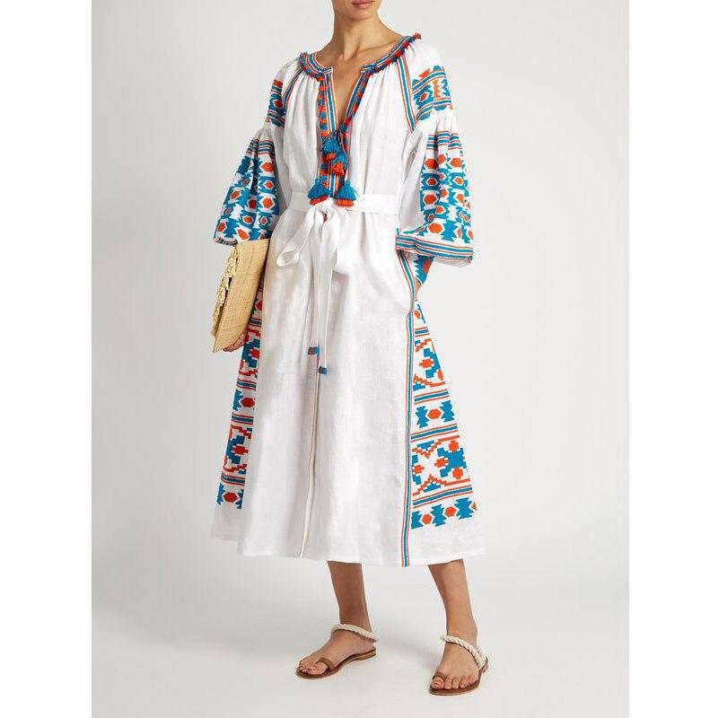 2018 Autumn Embroidery White Women's Dress Boho Holiday V Neck Flare Sleeve Chic Hippie Long Dresses Party Elegant Vestidos