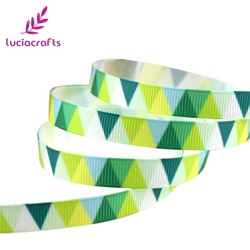 Lucia crafts 5y/6y 10 мм мульти вариант геометрический узор корсажная лента упаковочная лента DIY бант для волос и Швейные аксессуары S0609 - Цвет: Green 5y