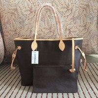 Excellent Quality Neverful Bag Women Shopping Bag Luxury Brand Monogrom Never Shoulder Bag Canvas Leather Full Handbag Women Bag