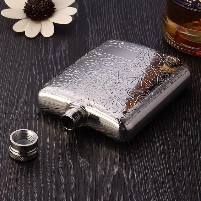 Stainless Steel Flower Design Wine Hip Flask Whiskey Liquor Flask For Pocket Mini Bottle wIth Funnel Top Gift Box Pack