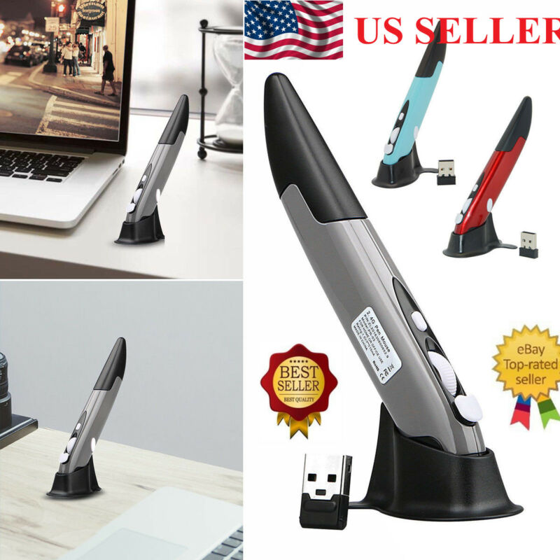 2.4GHz Optical USB Wireless Pen Mouse Pocket Tablet PC Laptop 1600DPI 4 Keys Mice For PC Smart Set Top Box Computer Promotion