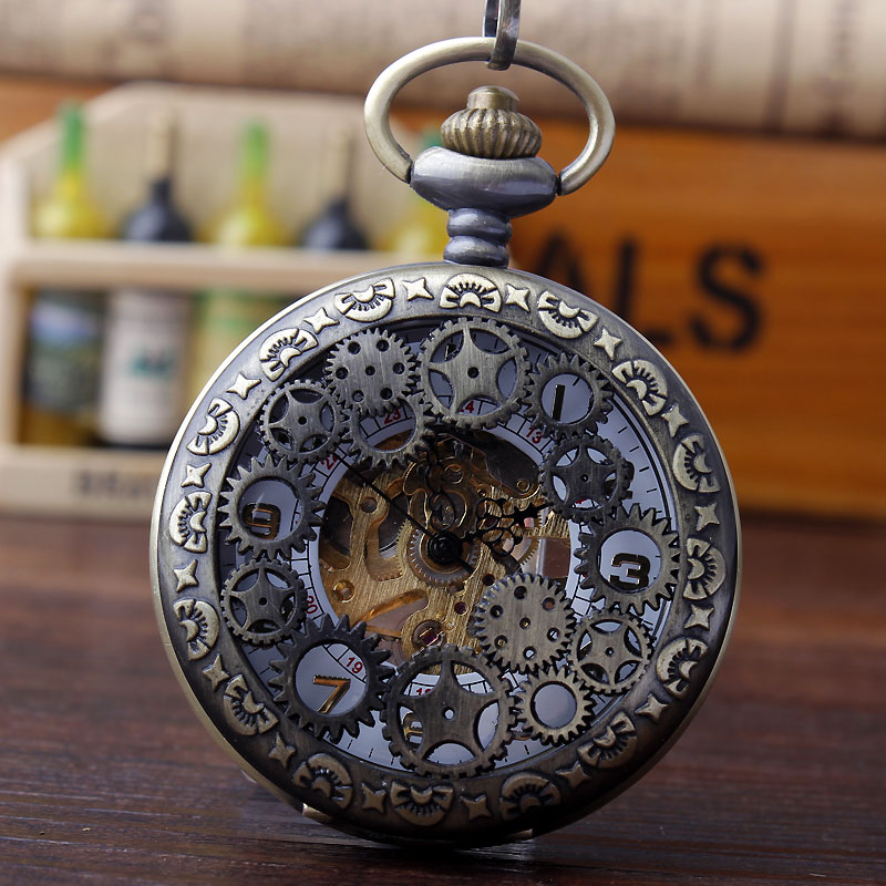 Vintage Bronze Hollow Gear Mechanical Hand Wind Pocket Watch Steampunk Skeleton Pocket Watches Fob Chain Men Gift Box steampunk skeleton mechanical pocket watch men vintage bronze clock necklace pocket