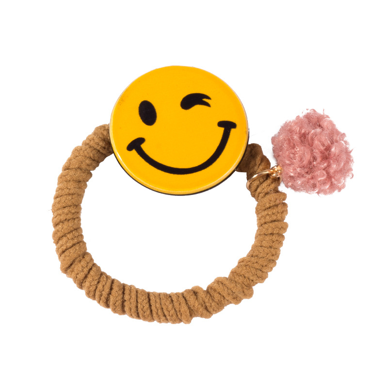 Korean simple hair rope is suitable for women hair ring hair ornaments smiling face rubber band girls heart hair jewelry O1 in Hair Jewelry from Jewelry Accessories