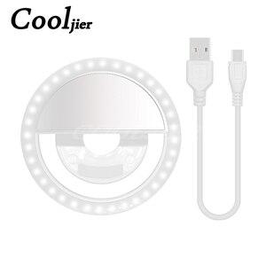 Image 3 - COOLJIER Yeni selfie halka ışık USB Şarj Taşınabilir Flaş LED kamera Telefon selfie halka ışık klip video ışık Gece Geliştirme