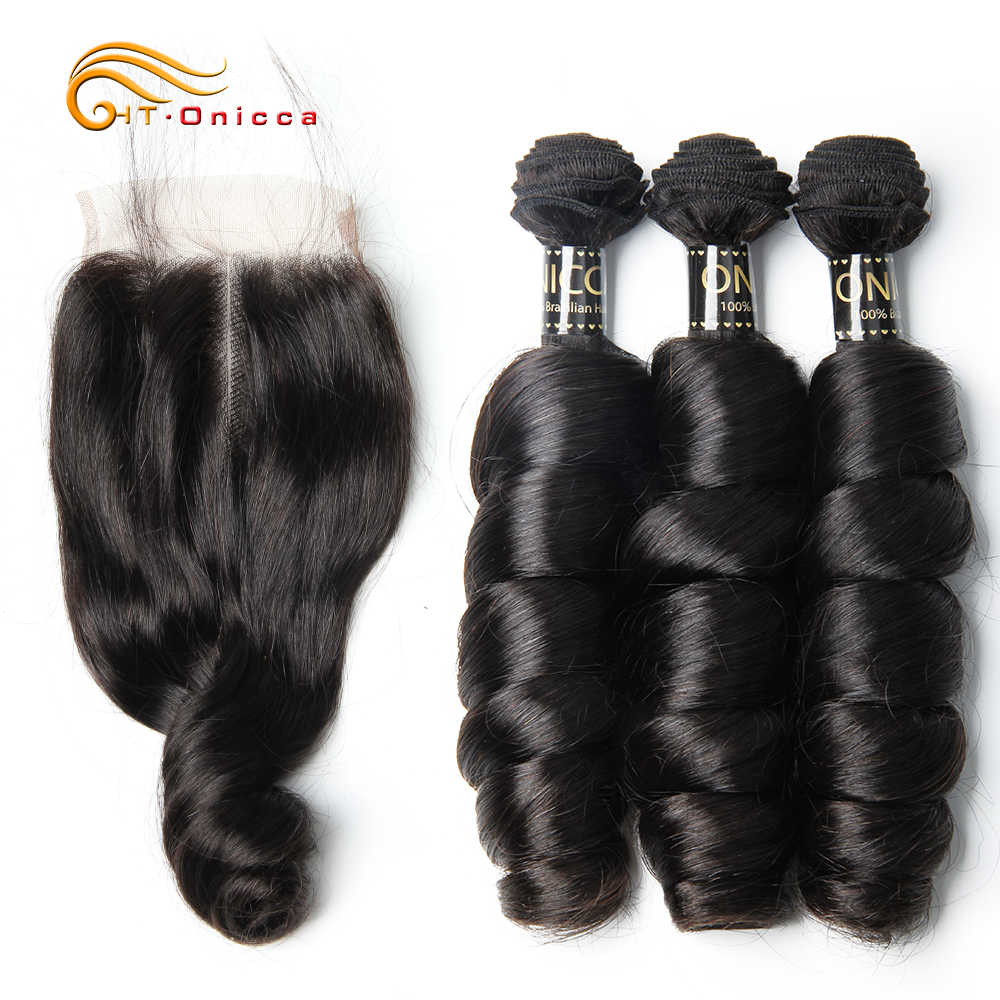 Htonicca Loose Wave Bundles With Closure Brazilian Hair Weave Bundles With Closure Remy Human Hair Weave 3 Bundles With Closure