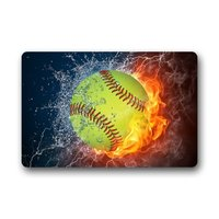 Cool Baseball Fire And Water Lighting Soft Ball Non Woven Fabric Door Mat Indoor Outdoor Bathroom