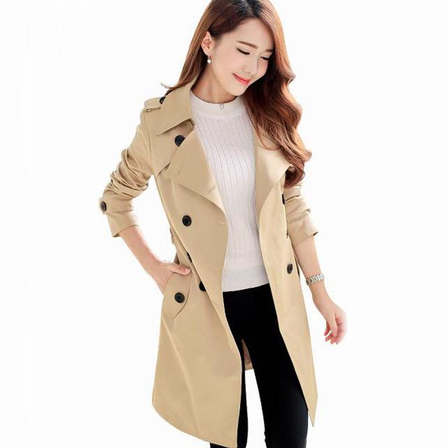 Foso de las mujeres puls tamaño 2017 la primavera y el otoño delgado medio-largo femenino abrigo de doble botonadura prendas de vestir exteriores de color caqui negro rojo amarillo