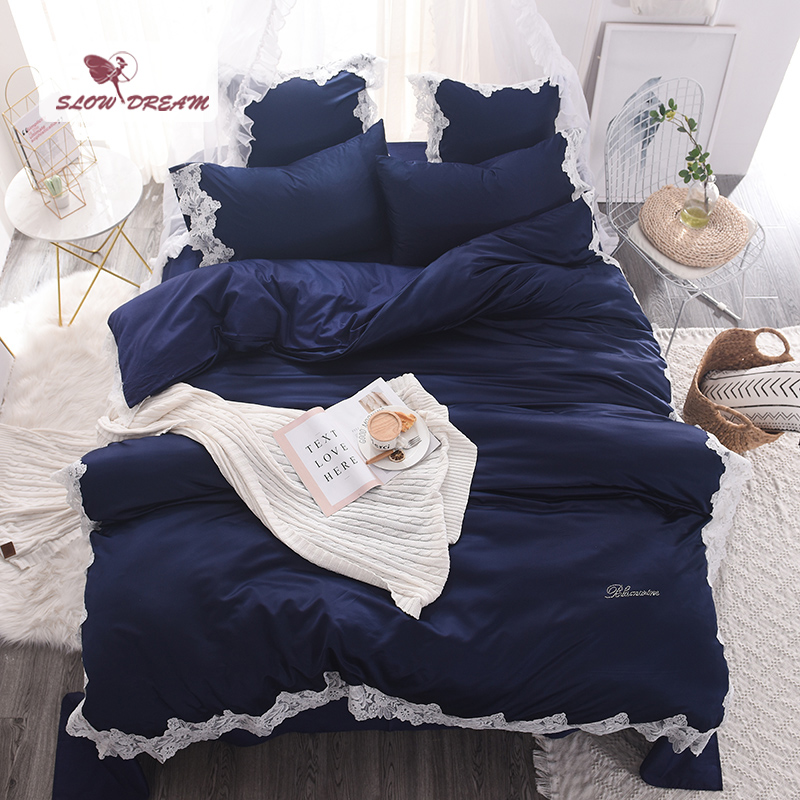 SlowDream Blue Luxury Lace Silk Bedding Set Comfort Duvet Cover Set Cotton Bed Set With Flat Sheet Home Textile Bed Linen