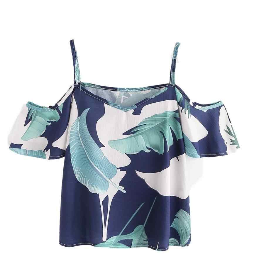 موضة البوهيمي الأزهار طباعة بلوزة المرأة الصيف مثير قبالة الكتف بلايز تي شيرت نسائي بأكمام قصيرة عادية الشيفون قمصان البلوزات # YL